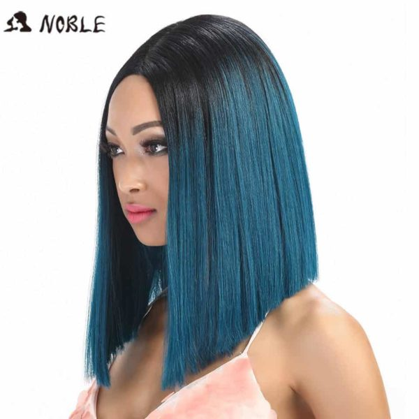Noble Straight Synthetic Hair Lace Front And T Part Wig 14 Inch Wigs For Black Women 7 Colors Ombre Hair Choice Cosplay Wig 2