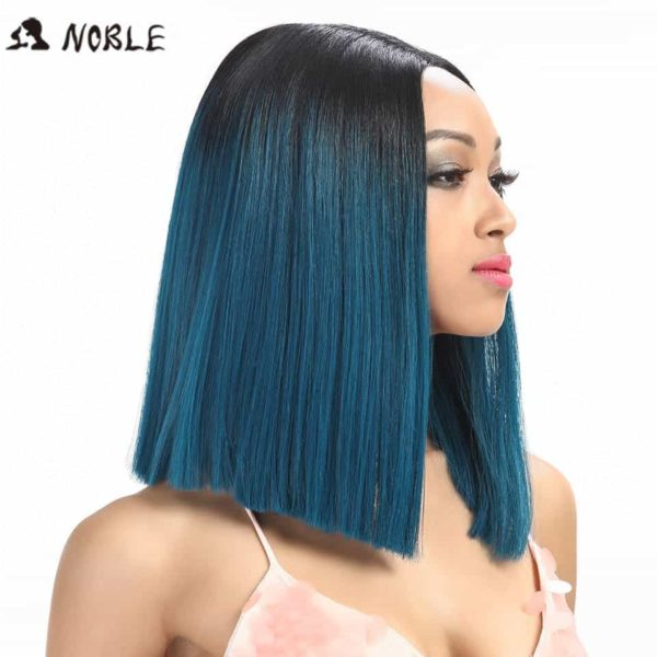 Noble Straight Synthetic Hair Lace Front And T Part Wig 14 Inch Wigs For Black Women 7 Colors Ombre Hair Choice Cosplay Wig 3