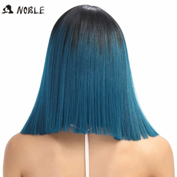 Noble Straight Synthetic Hair Lace Front And T Part Wig 14 Inch Wigs For Black Women 7 Colors Ombre Hair Choice Cosplay Wig 4