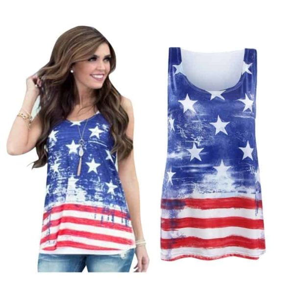 American Flag Star Striped Print O-Neck Short Sleeve 5