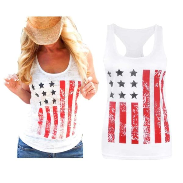 American Flag Star Striped Print O-Neck Short Sleeve
