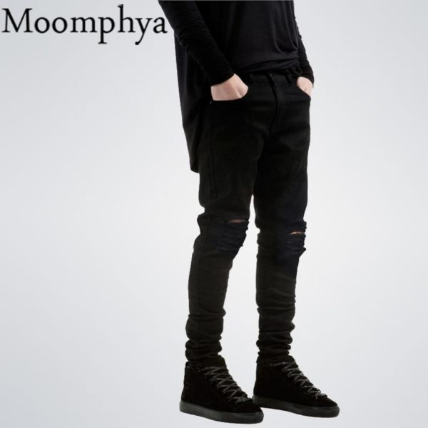 New Black Ripped Jeans Men With Holes Denim Super Skinny Slim Fit Jean 2