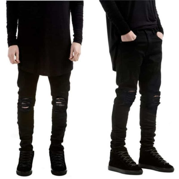 New Black Ripped Jeans Men With Holes Denim Super Skinny Slim Fit Jean 3