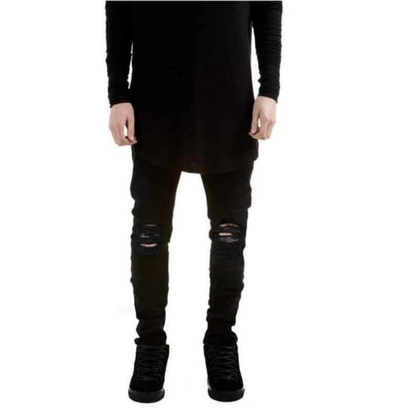 New Black Ripped Jeans Men With Holes Denim Super Skinny Slim Fit Jean 4