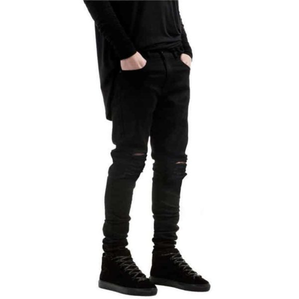 New Black Ripped Jeans Men With Holes Denim Super Skinny Slim Fit Jean 5