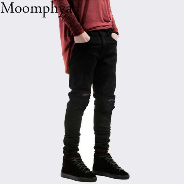 New Black Ripped Jeans Men With Holes Denim Super Skinny Slim Fit Jean 1