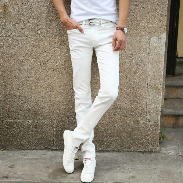 New Fashion Men's Casual Stretch Skinny Jeans Trousers Tight Pants Solid Color 2