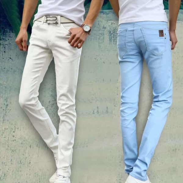 New Fashion Men's Casual Stretch Skinny Jeans Trousers Tight Pants Solid Color 3