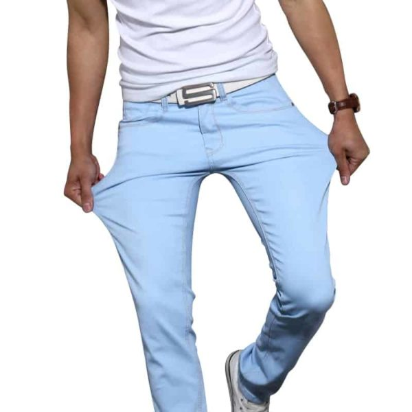 New Fashion Men's Casual Stretch Skinny Jeans Trousers Tight Pants Solid Color 1