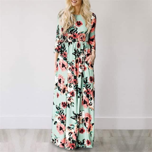 Long Floral Maxi Dress Peasant - Save up to 75% OFF | Rhalyns