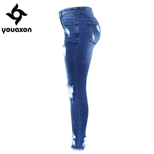 Ultra Stretchy Blue Tassel Ripped Jeans for Woman 2