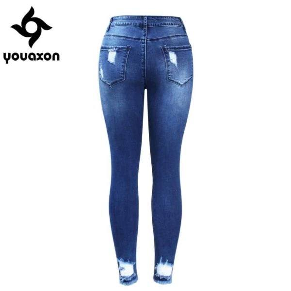 Ultra Stretchy Blue Tassel Ripped Jeans for Woman 3