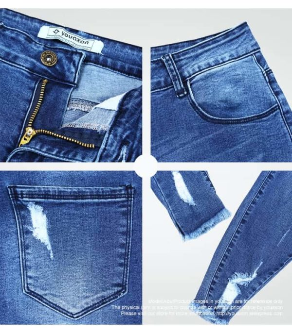 Ultra Stretchy Blue Tassel Ripped Jeans for Woman 5