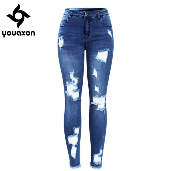 Ultra Stretchy Blue Tassel Ripped Jeans for Woman 1