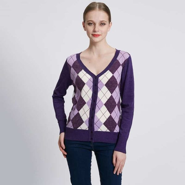 Jacquard Plaid Cardigan Woman Casual Sweater 2