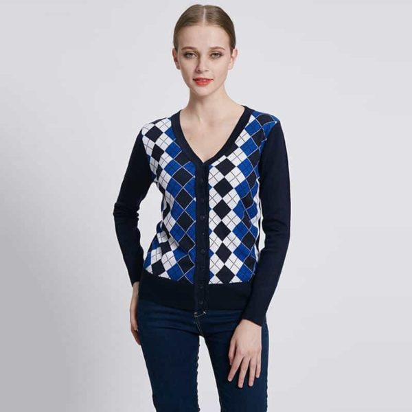 Jacquard Plaid Cardigan Woman Casual Sweater 4