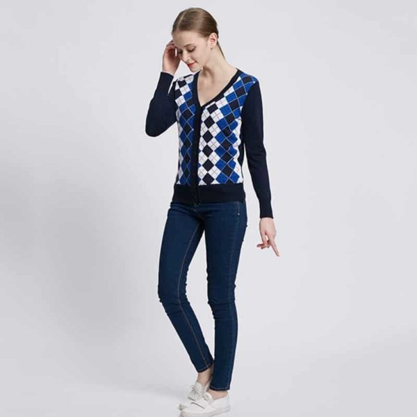 Jacquard Plaid Cardigan Woman Casual Sweater 5