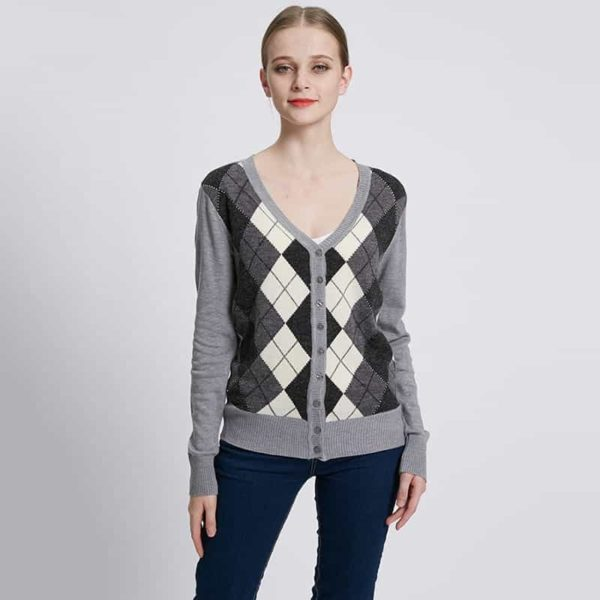 Jacquard Plaid Cardigan Woman Casual Sweater 1