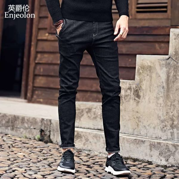 Enjeolon Slim Straight Jeans Causal Pants KZ6141 2