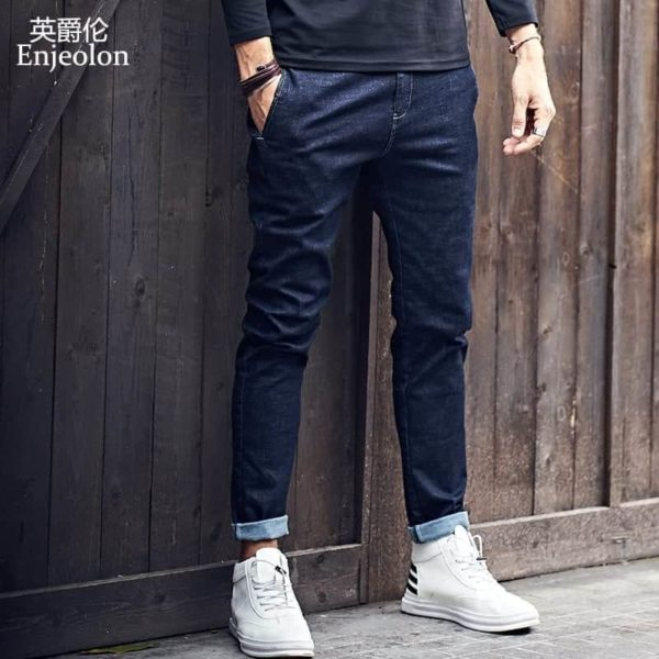 Enjeolon Slim Straight Jeans Causal Pants KZ6141 1