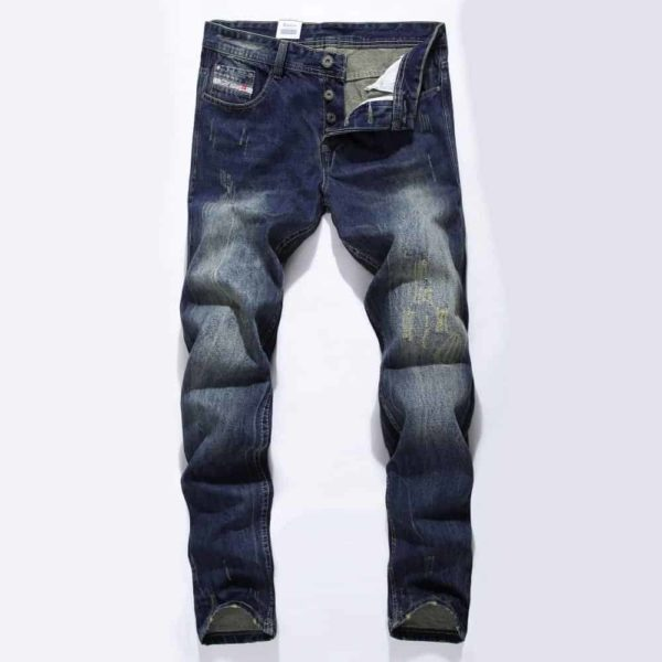 Straight Dark Blue Color Printed Mens Ripped Jeans 2