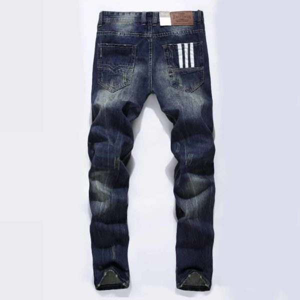Straight Dark Blue Color Printed Mens Ripped Jeans 1