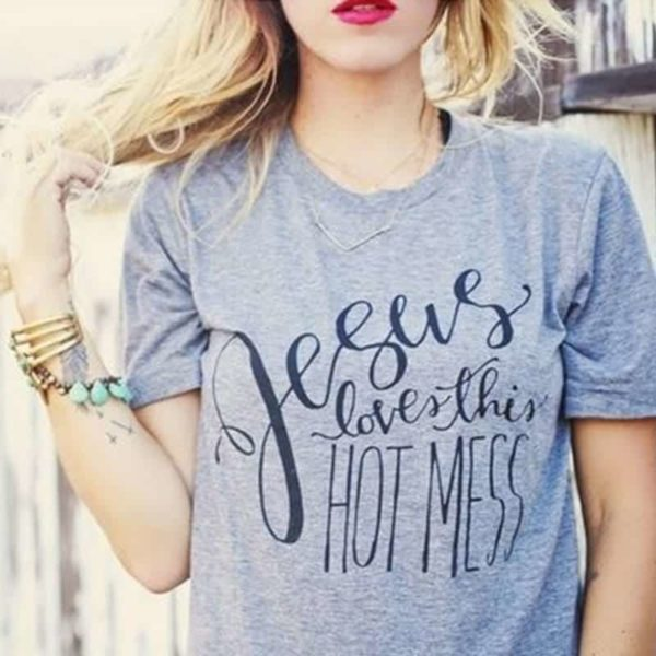 Jesus Loves This Hot Mess Christian T-Shirt 2