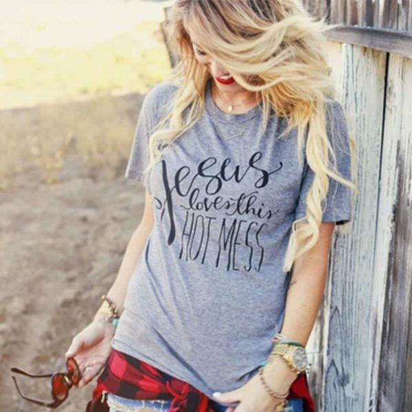 Jesus Loves This Hot Mess Christian T-Shirt 1