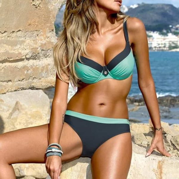 Large Size Striped Patchwork Women Push Up Swimsuits Bikini 2