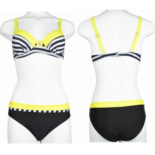 Large Size Striped Patchwork Women Push Up Swimsuits Bikini 3