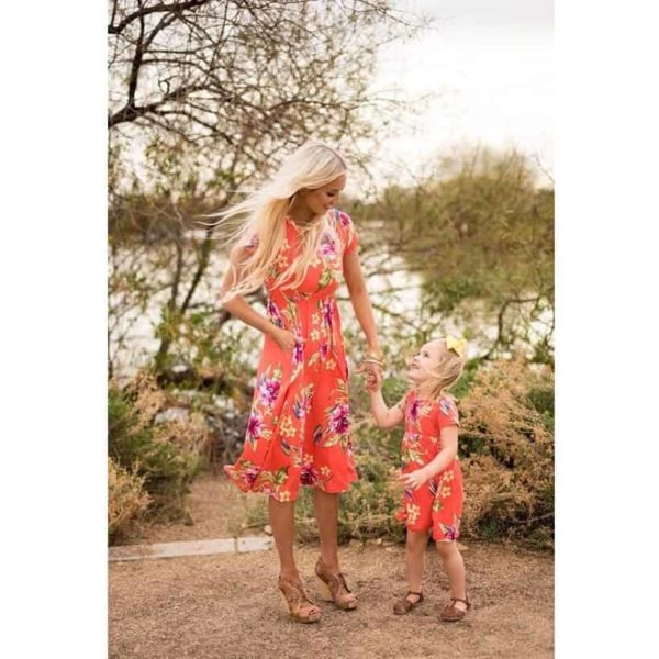 Mommy And Me Short Sleeve Dress 1