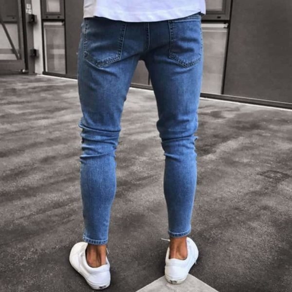 NEW men's hole embroidered jeans Slim men's pants 2