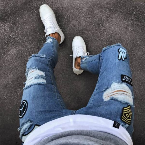 NEW men's hole embroidered jeans Slim men's pants 3