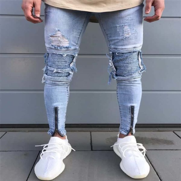 NEW men's hole embroidered jeans Slim men's pants 4