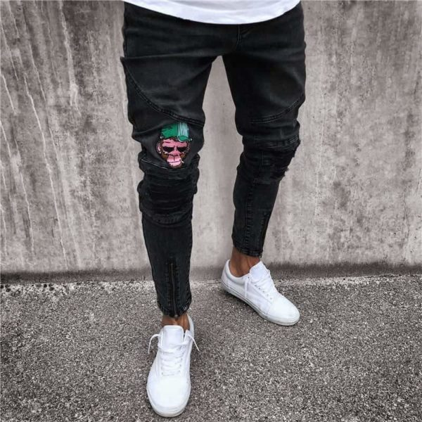 NEW men's hole embroidered jeans Slim men's pants 5