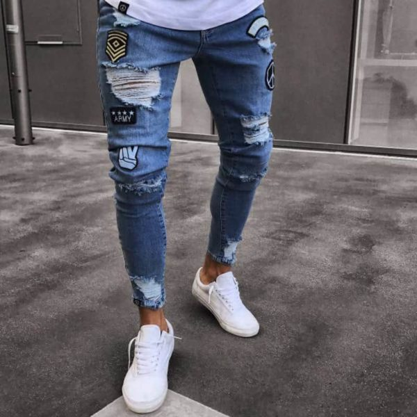 NEW men's hole embroidered jeans Slim men's pants 1