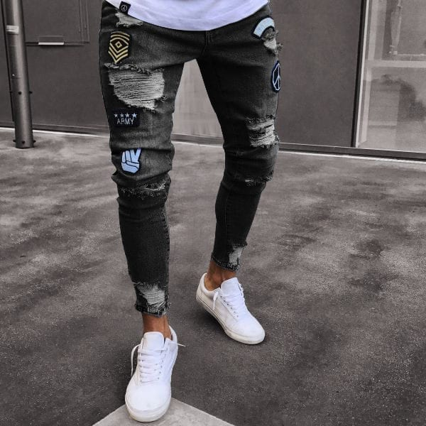 Embroidered Slim Trousers Mens Jeans 4