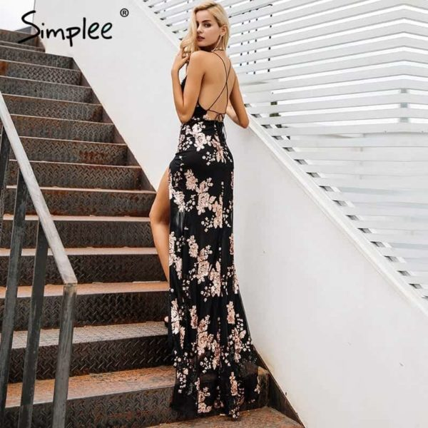 Simplee Sexy Lace Up Halter Sequin Party Dress 2