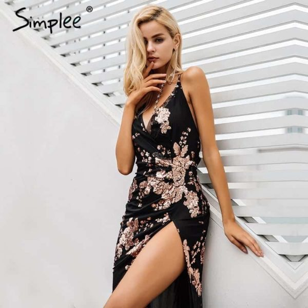 Simplee Sexy Lace Up Halter Sequin Party Dress 4