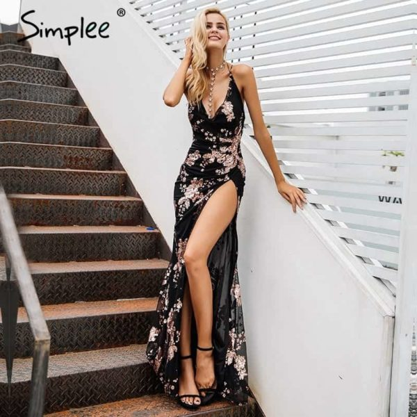 Simplee Sexy Lace Up Halter Sequin Party Dress 1