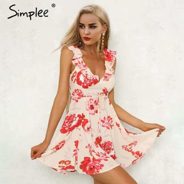 Simplee V Neck Print Backless Sexy Short Dress 2