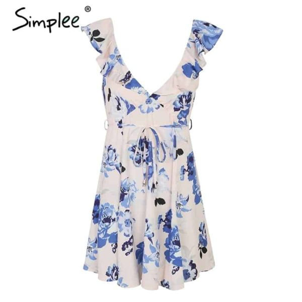 Simplee V Neck Print Backless Sexy Short Dress 4
