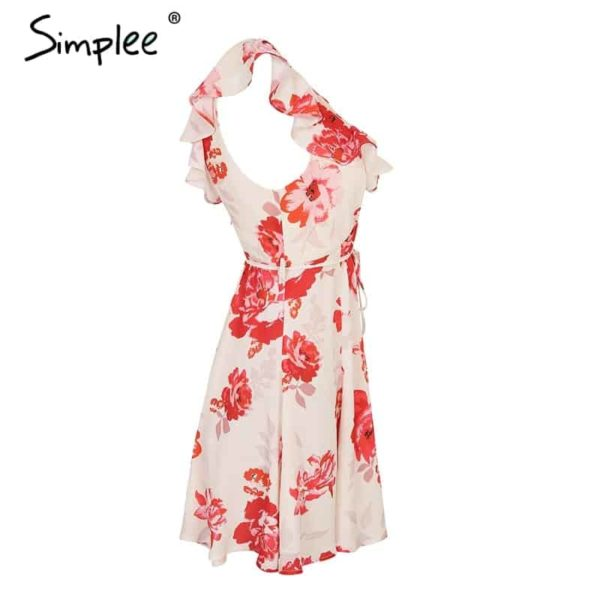 Simplee V Neck Print Backless Sexy Short Dress 5