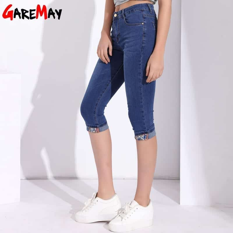Active Plus Size Skinny Capris Jeans Woman High Waisted Jeans Female Summer Stretch Skinny Knee Length Denim Pants Bottoms