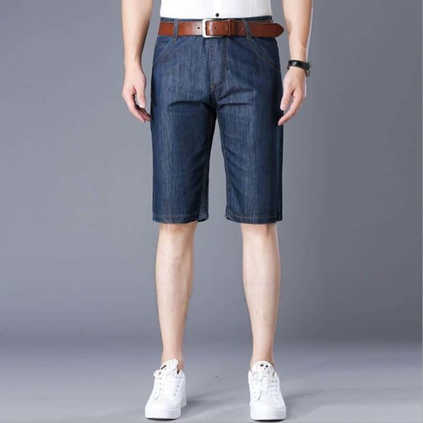 Summer Men's Casual Travel Lightweight Short Jeans Solid Color Beach Vacation Fifth Pants 1