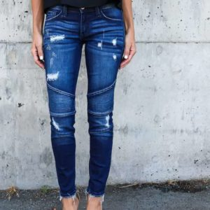 Ripped Hole Stretch Denim Skinny Pants