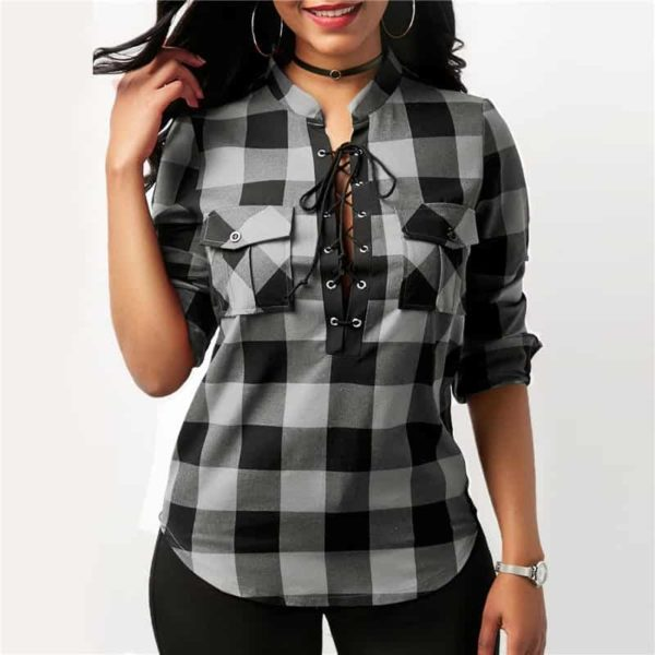 Long Sleeve Office Lady Blouses 3