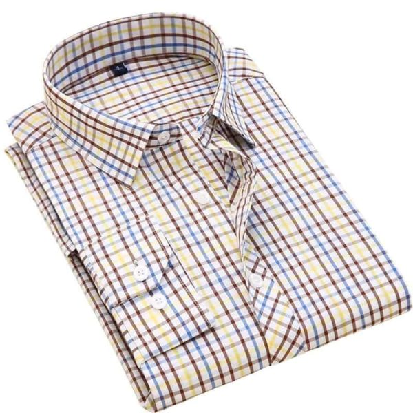 Long Sleeve Slim Fit Plaid Shirt 1