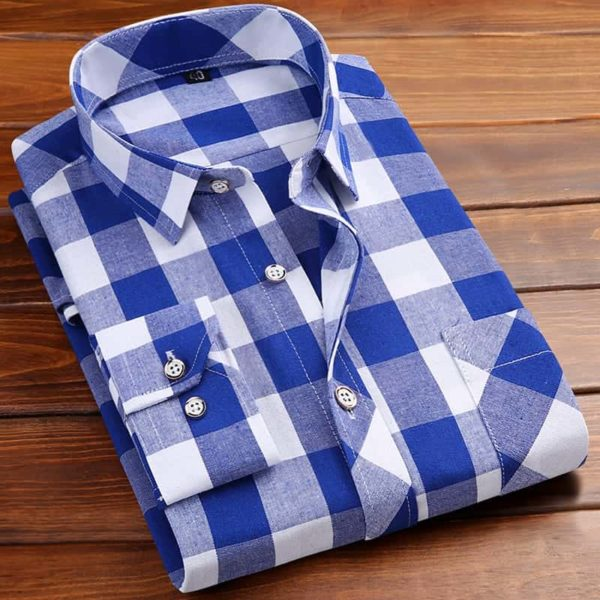 Square Neckline Shirt For Men blue