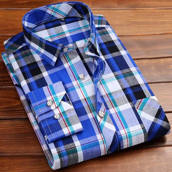 Square Neckline Shirt For Men dark blue